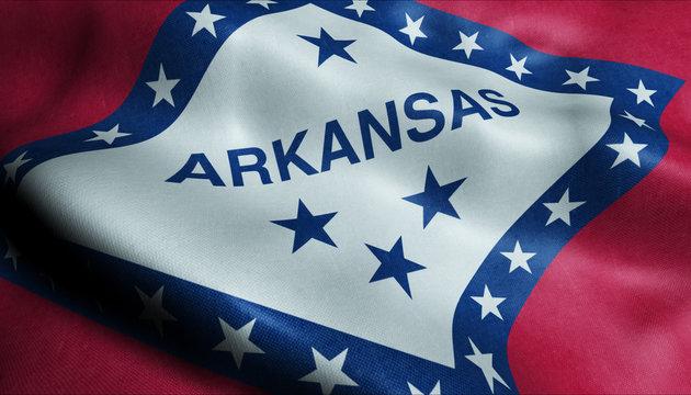 State of Arkansas Waving Flag in 3D