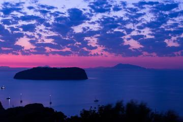 Sunrise Santo Stefano island, view from Ventotene. Lazio Italy