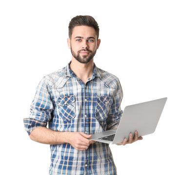 Male programmer with laptop on white background