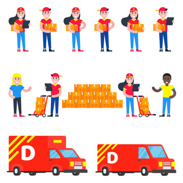 Huge set of delivery things and stuff . Fast delivery girls and boys characters with clipboard and trolley and boxes on it flat style design near recipient and trucks with boxes vector illustration.