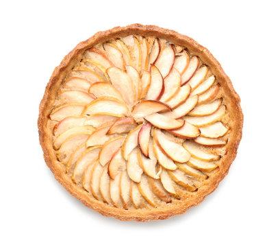 Tasty apple pie on white background