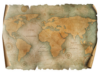 Wall Mural - Vintage world map parchment isolated on white. Based on image furnished from NASA.