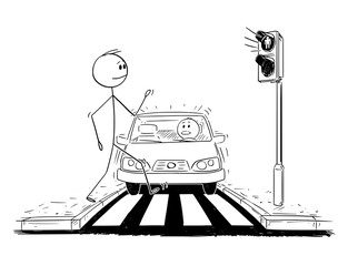 Cartoon stick figure drawing conceptual illustration of man walking on crosswalk or pedestrian crossing ignoring that red light is on on stoplights and car is getting closer.