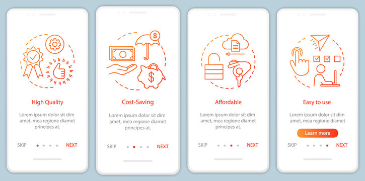 Business software advantages onboarding mobile app page screen with linear concepts