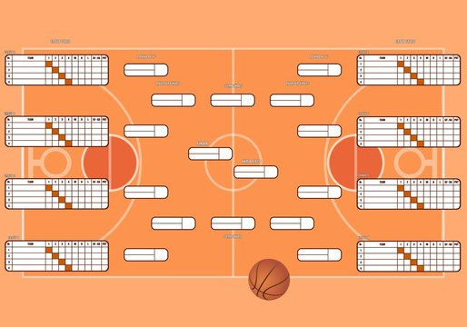 Standings of the basketball championship.basketball field with markings.tournament table for 32 teams.for the world Cup,the NHL club championship.vector image