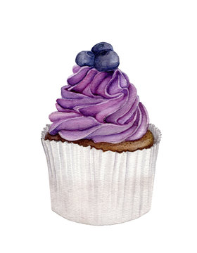 Watercolor painting of blueberry cake