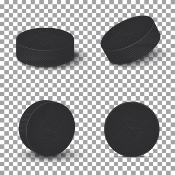 Hockey pucks isolated on transparent background. Set of ice hockey pucks.Vector illustration