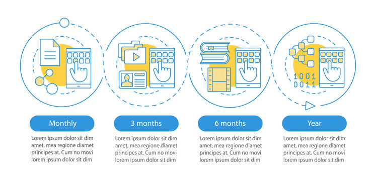 Digital services subscription vector infographic template