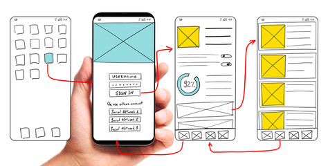 UI development. Male hand holding smartphone with wireframed user interface screen prototypes of a mobile application on white background.