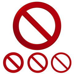 Red prohibition vector sign. Warning circle and line symbol. Vector