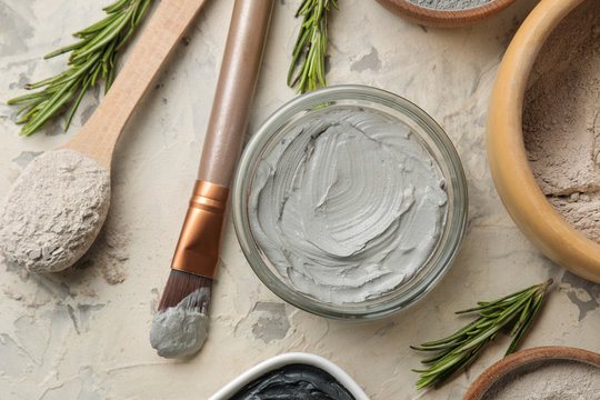 Cosmetic clay. clay facial mask on a light background. different types of clay. natural cosmetics for cosmetic procedures. Beauty concept. top view