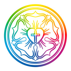 Luther rose symbol. Rainbow colored sign of Lutheranism and protestants, consisting of a cross, a heart, a single rose and a ring - isolated vector illustration on white background.