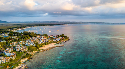 Aerial Images of Jamaica Negril Carribean Beach Sand Ocean Sunset Vacation