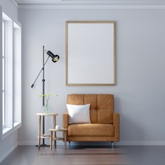 Living room with Leather sofa have pillows, Blank poster on white wall, 3D Rendering