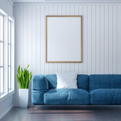 living room with white wall and light blue sofa, Blank poster on white wall, 3D Rendering