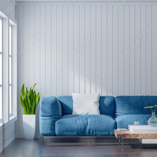 Wondrous Empty Living Room With White Wall And Light Blue Sofa Ibusinesslaw Wood Chair Design Ideas Ibusinesslaworg