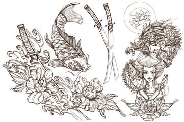 Contour image of asian woman in a kimono and dragon. Beautiful template for posters or leaflets with a girl samurai. A set of outline illustrations with sketches of tattoos.