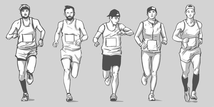 Isolated vector illustration of marathon long distance runners