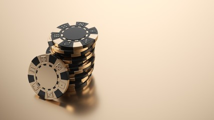 Gold Casino Chips Isolated On The Golden Background - 3D Illustration