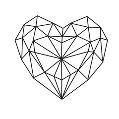 Abstract geometric heart vector illustration