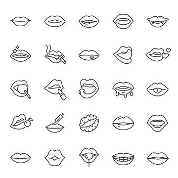 Lips, icon set. mouth, linear icons. Line with editable stroke