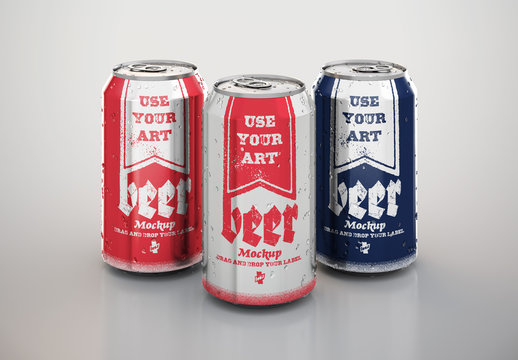 3 Beer Cans Packaging Design Mockup with Water Droplets