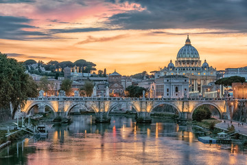Wall Mural - Beautiful sunset on the city of Rome in evening