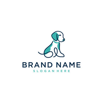 pet dog illustration vector logo design