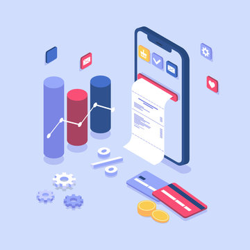 electronic bill payment notification. Online payment on isometric smartphone, bill coming out of screen. flat design concept with phone, cards, coins, buy now. Landing page and banner template, app