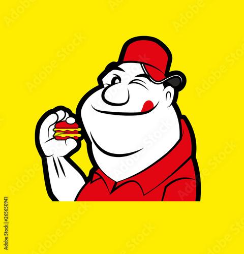 Cartoon funny fat man mascot holding a big burger in yellow