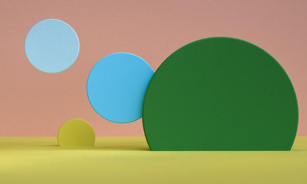 Geometric shape minimal, 3d rendering.