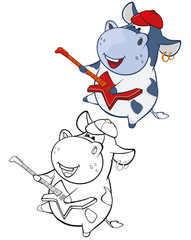 Vector Illustration of a Cute Cartoon Character Cow for you Design and Computer Game. Coloring Book Outline Set
