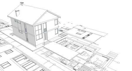 Obraz house, architectural project, sketch, 3d illustration - fototapety do salonu