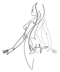 Deurstickers One Line Art Female Figure Continuous Line Vector Graphic