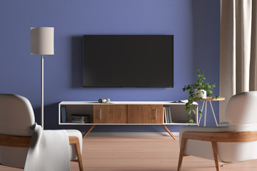 TV screen on the blue wall in modern living room