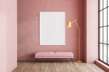 Pink living room, bench and poster