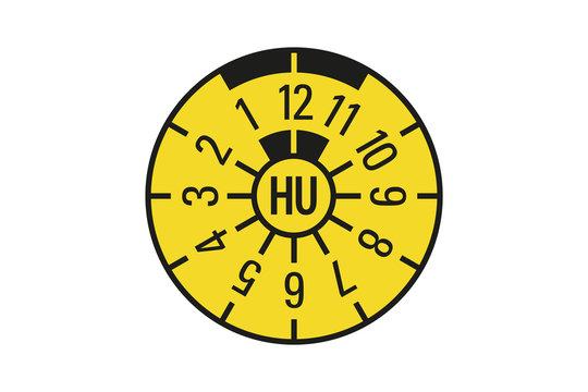 Gelbe TÜV Plakette Hauptuntersuchung HU Vektor