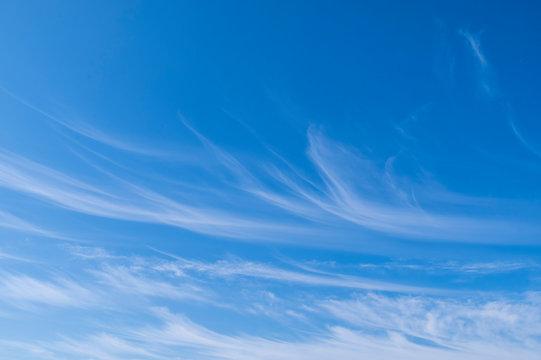 Blue sky with cirrus clouds panorama.