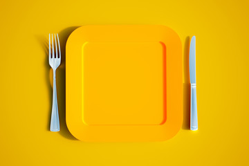 Colorful squared yellow table set