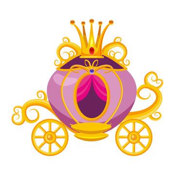 Princess carriage, decorated with diamonds, a crown, precious stones