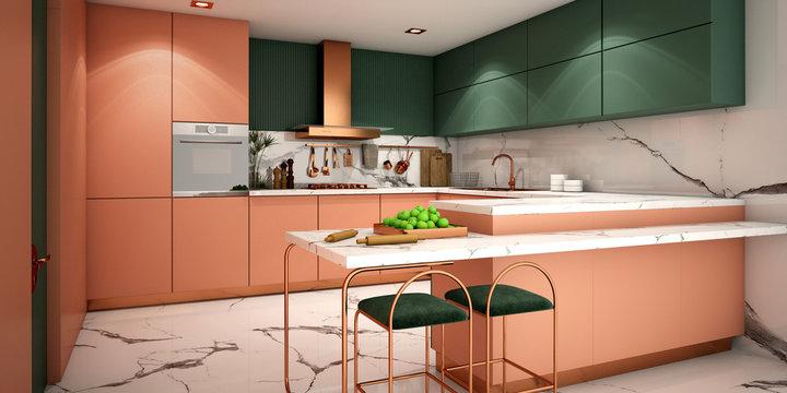 kitchen interior design in modern style,3d rendering,3d illustration