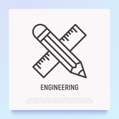 Pencil and ruler are crossed thin line icon. Modern vector illustration, symbol of engineering.