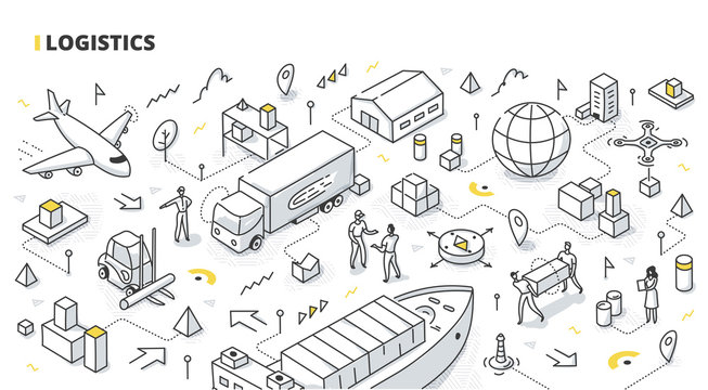 Logistics Isometric Doodle