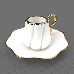 Turkish porcelain coffee cup and saucer