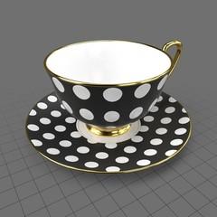 Polka dot cup and saucer