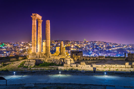 Temple of Hercules at Amman Citadel in Amman, Jordan.