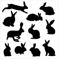silhouettes of easter rabbits