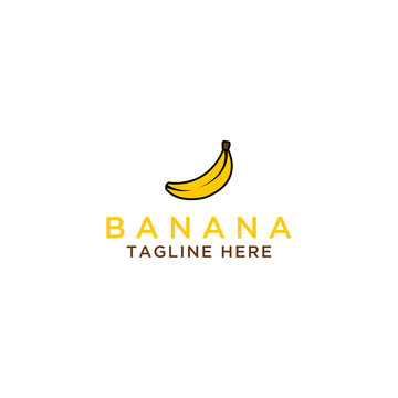 Banana logo template, Health food design. - Vector