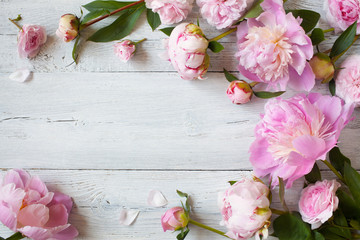 Aluminium Prints Magnolia Pink peonies and roses on a wooden background