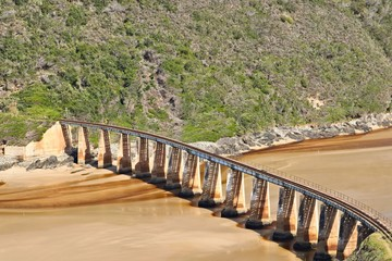 Kaaimans River Railway Bridge, Wilderness, South Africa. This is a popular tourist attraction on the Garden Route.